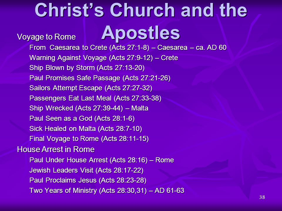38 Christ's Church and the Apostles Voyage to Rome From Caesarea to Crete (Acts 27:1-8) – Caesarea – ca. AD 60 Warning Against Voyage (Acts 27:9-12) –