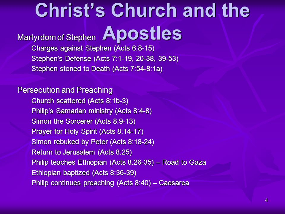 55 Christ's Church and the Apostles Letter by James (continued) Consistency Between Faith and Conduct (continued) Examples of Obedient Faith (James 2:21-26) Practicing what is Preached (James 3:1-5) Speech to reflect Purity (James 3:6-12) Wisdom shown by Good Life (James 3:13-18) Materialism brings Conflict (James 4:1-4) Godliness brings Joy (James 4:5-10) Obeying versus Judging (James 4:11-12 Exhortations for Suffering Saints Perspective and Priorities (James 4:13-17) Judgment Against Oppressors (James 5:1-6) Steadfastness in Suffering (James 5:7-11) Rash Oaths (James 5:12) Prayer amid Suffering (James 5:13-18) Mutual Watchfulness (James 5:19,20)
