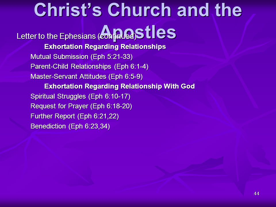 44 Christ's Church and the Apostles Letter to the Ephesians (continued) Exhortation Regarding Relationships Mutual Submission (Eph 5:21-33) Parent-Chi