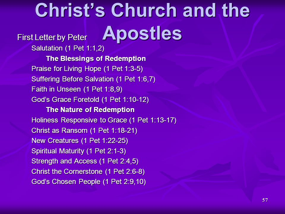 57 Christ's Church and the Apostles First Letter by Peter Salutation (1 Pet 1:1,2) The Blessings of Redemption Praise for Living Hope (1 Pet 1:3-5) Su