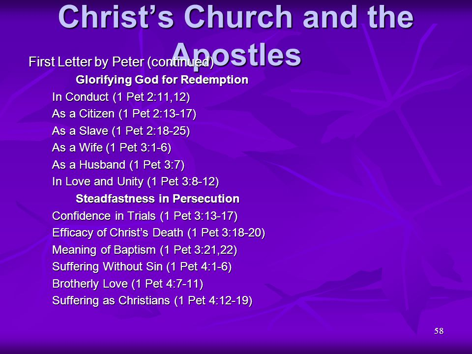 58 Christ's Church and the Apostles First Letter by Peter (continued) Glorifying God for Redemption In Conduct (1 Pet 2:11,12) As a Citizen (1 Pet 2:1