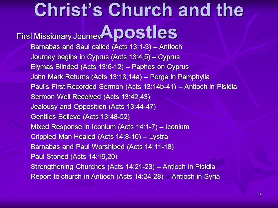 78 Christ's Church and the Apostles The Revelation to John (continued) Triumph of Christ and His Church Wedding of Lamb and Bride (Rev 19:6-8) Honor of being Invited (Rev 19:9,10) Word Rules as Lord and King (Rev 19:11-16) Birds Devour Unrighteous (Rev 19:17,18) Beast and False Prophet Killed (Rev 19:19-21) Satan Bound for a Long Time (Rev 20:1-3) Martyrs Reign with Christ (Rev 20:4-6) Satan Destroyed (Rev 20:7-10) Great Judgment of the Dead (Rev 20:11-15) Vision of New Heaven and New Earth (Rev 21:1-5) Reward and Destruction (Rev 21:6-8)