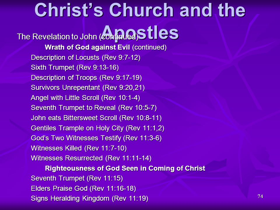 74 Christ's Church and the Apostles The Revelation to John (continued) Wrath of God against Evil (continued) Description of Locusts (Rev 9:7-12) Sixth