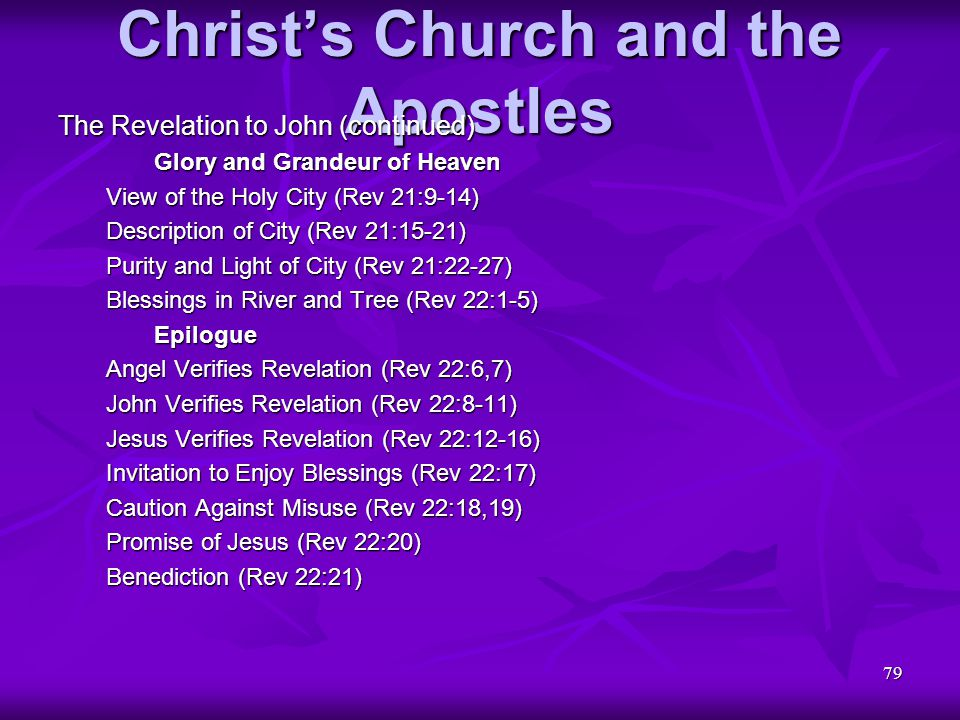 79 Christ's Church and the Apostles The Revelation to John (continued) Glory and Grandeur of Heaven View of the Holy City (Rev 21:9-14) Description of