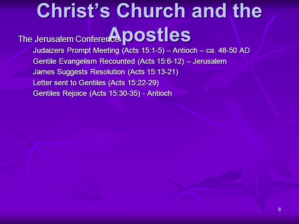 19 Christ's Church and the Apostles First Letter to the Corinthians (continued) Regarding Mutual Submission (continued) Forgoing Rights Cor 9:12b-14) Rewards for Giving Up Rights (1 Cor 9:15-18) Concession versus Assertion (1 Cor 9:19-23) Value of Self-Discipline (1 Cor 9:24-27) Example of Over-Confidence (1 Cor 10:1-5) Example of Self-Indulgence (1 Cor 10:6-10) Examples are Warning (1 Cor 10:11-13) Actions Indicate Loyalties (1 Cor 10:14-22) Liberty Yields Forbearance (1 Cor 10:23-30) Yield Self for Others Sake (1 Cor 10:31-11:1) Regarding Role Distinctions Veils as Symbol (1 Cor 11:2-10) Equality despite Distinctions (1 Cor 11:11-16)