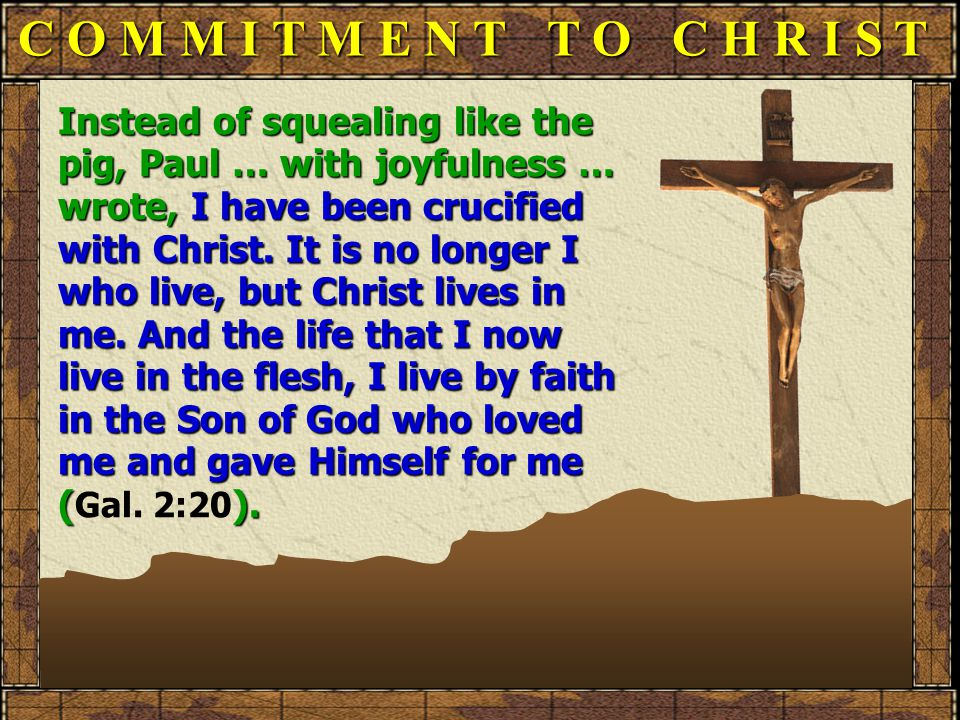C O M M I T M E N T T O C H R I S T Instead of squealing like the pig, Paul … with joyfulness … wrote, I have been crucified with Christ.