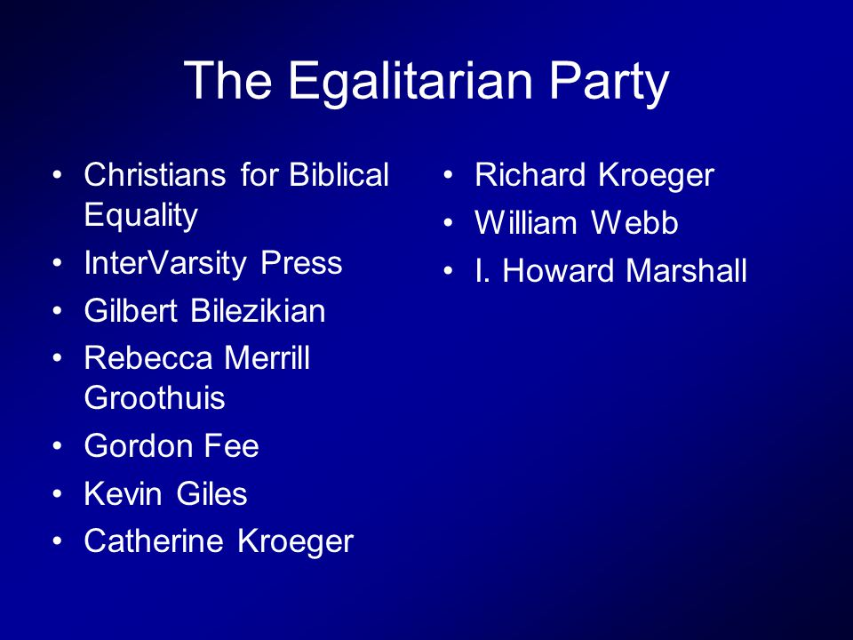 The Egalitarian Party Christians for Biblical Equality InterVarsity Press Gilbert Bilezikian Rebecca Merrill Groothuis Gordon Fee Kevin Giles Catherine Kroeger Richard Kroeger William Webb I.