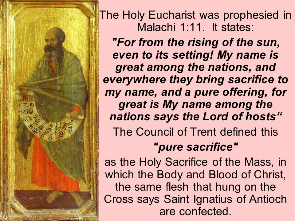 The Holy Eucharist was prophesied in Malachi 1:11. It states: