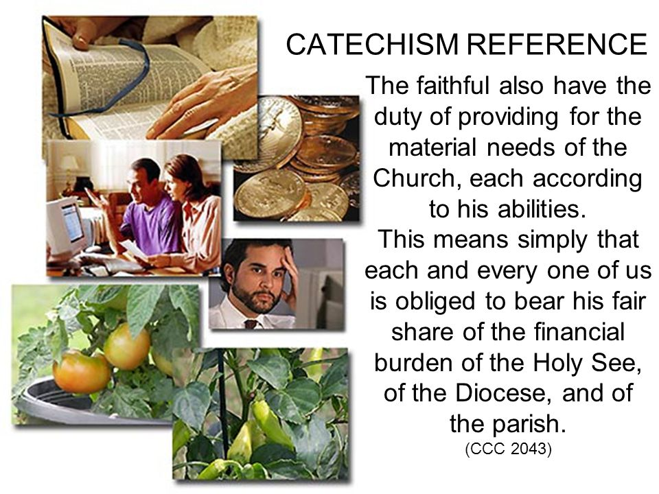 CATECHISM REFERENCE The faithful also have the duty of providing for the material needs of the Church, each according to his abilities. This means sim
