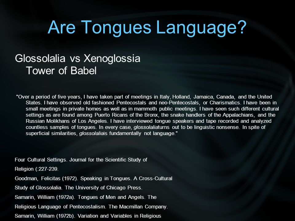 Are Tongues Language.