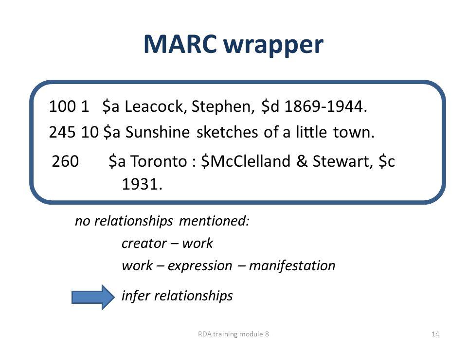 MARC wrapper 100 1 $a Leacock, Stephen, $d 1869-1944. 245 10 $a Sunshine sketches of a little town. 260 $a Toronto : $McClelland & Stewart, $c 1931. n