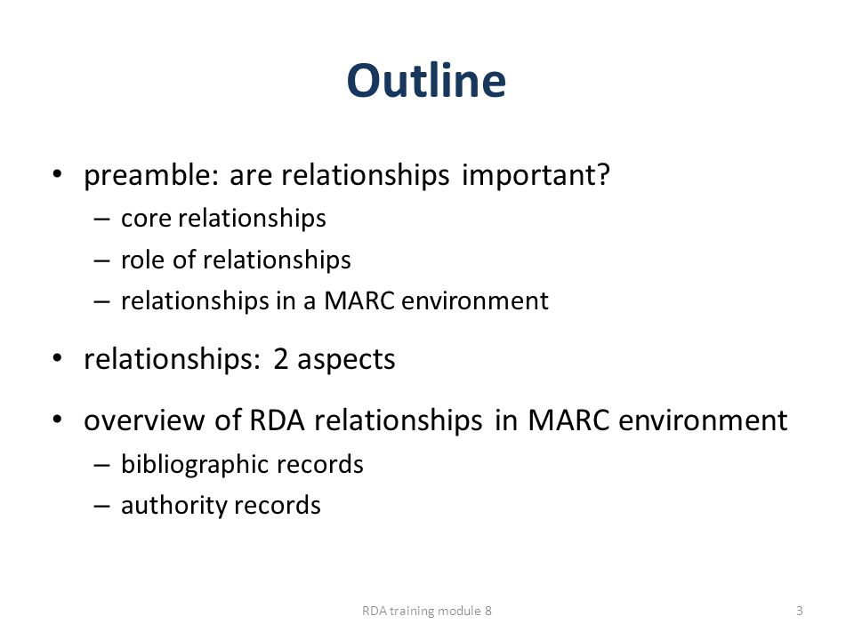 Outline preamble: are relationships important.