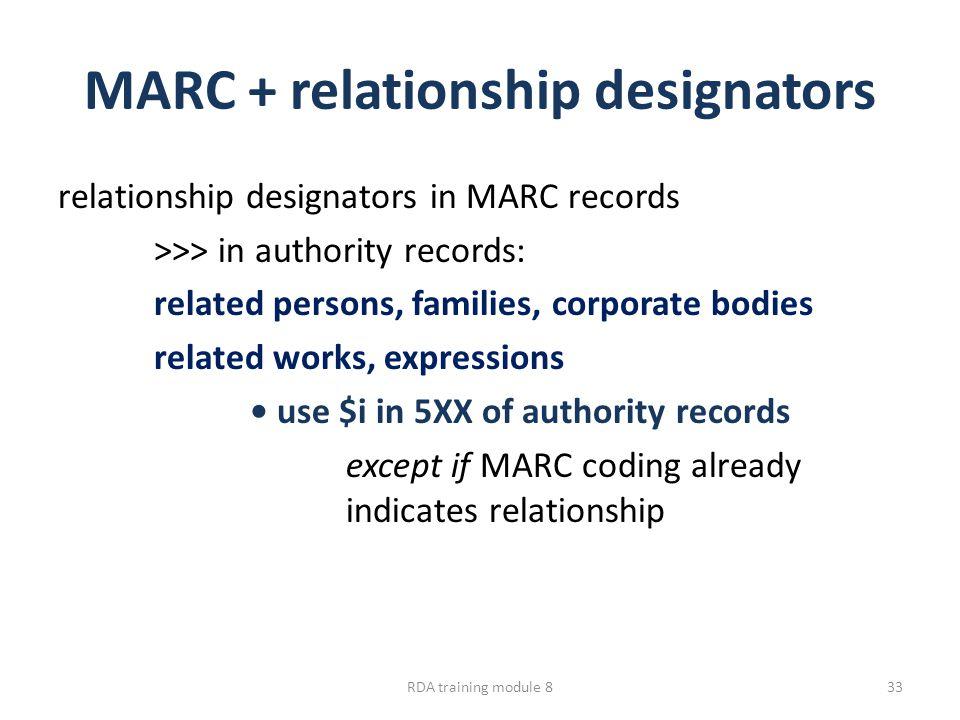 MARC + relationship designators relationship designators in MARC records >>> in authority records: related persons, families, corporate bodies related