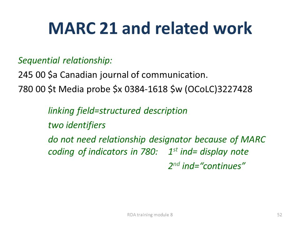 MARC 21 and related work Sequential relationship: 245 00 $a Canadian journal of communication. 780 00 $t Media probe $x 0384-1618 $w (OCoLC)3227428 li