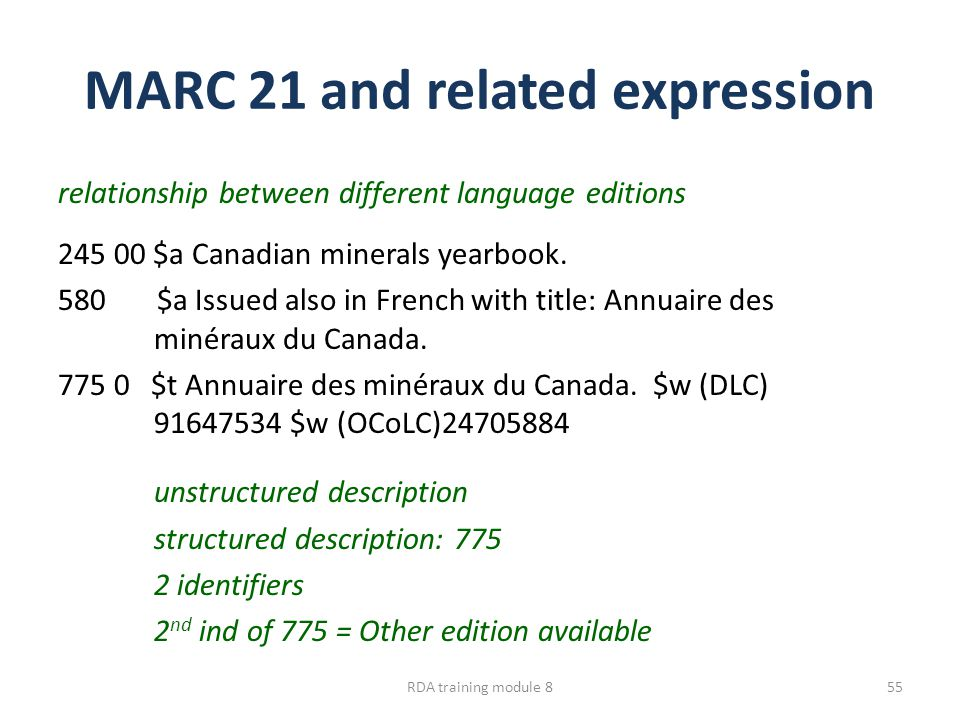 MARC 21 and related expression relationship between different language editions 245 00 $a Canadian minerals yearbook. 580 $a Issued also in French wit