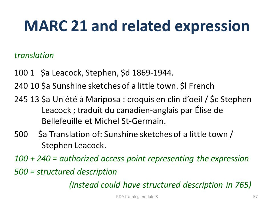 MARC 21 and related expression translation 100 1 $a Leacock, Stephen, $d 1869-1944.