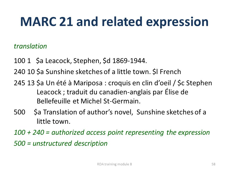 MARC 21 and related expression translation 100 1 $a Leacock, Stephen, $d 1869-1944. 240 10 $a Sunshine sketches of a little town. $l French 245 13 $a