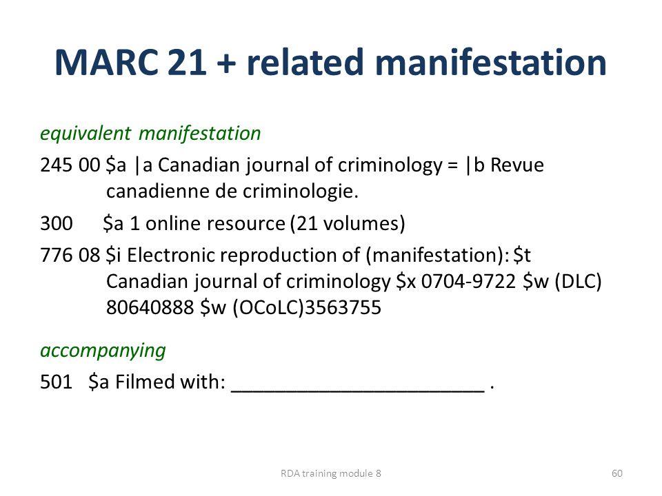 MARC 21 + related manifestation equivalent manifestation 245 00 $a |a Canadian journal of criminology = |b Revue canadienne de criminologie.