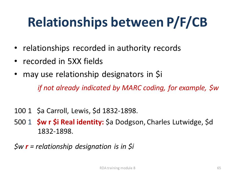 Relationships between P/F/CB relationships recorded in authority records recorded in 5XX fields may use relationship designators in $i if not already