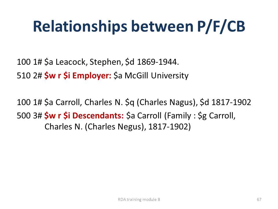 Relationships between P/F/CB 100 1# $a Leacock, Stephen, $d 1869-1944. 510 2# $w r $i Employer: $a McGill University 100 1# $a Carroll, Charles N. $q