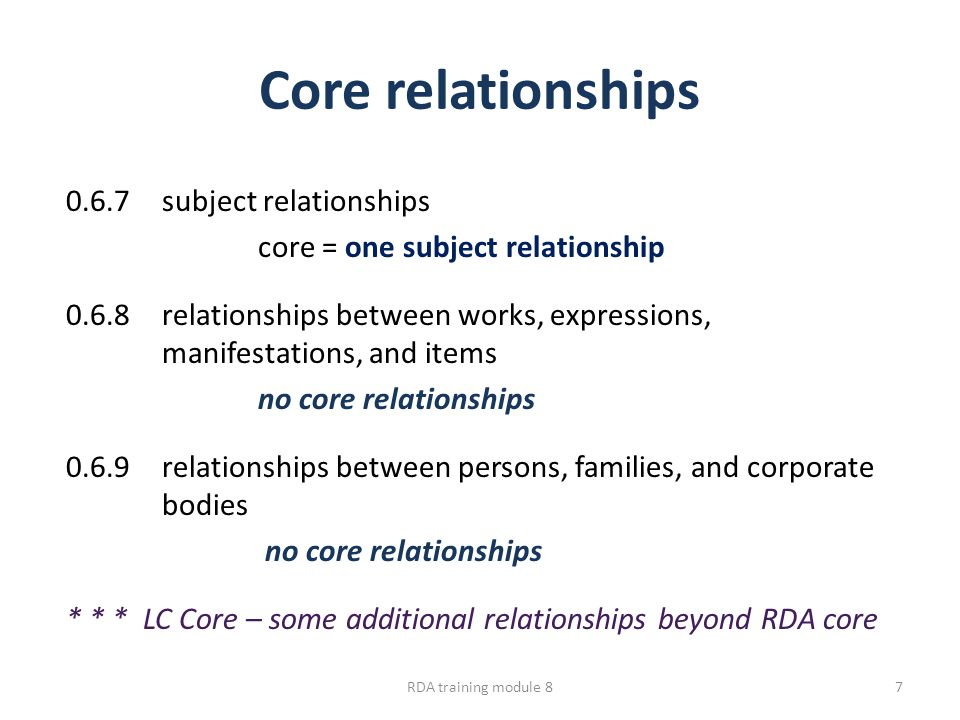 Core relationships 0.6.7subject relationships core = one subject relationship 0.6.8relationships between works, expressions, manifestations, and items no core relationships 0.6.9relationships between persons, families, and corporate bodies no core relationships * * * LC Core – some additional relationships beyond RDA core RDA training module 87