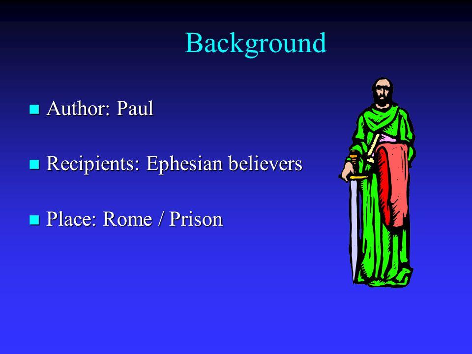 Background Author: Paul Author: Paul Recipients: Ephesian believers Recipients: Ephesian believers Place: Rome / Prison Place: Rome / Prison