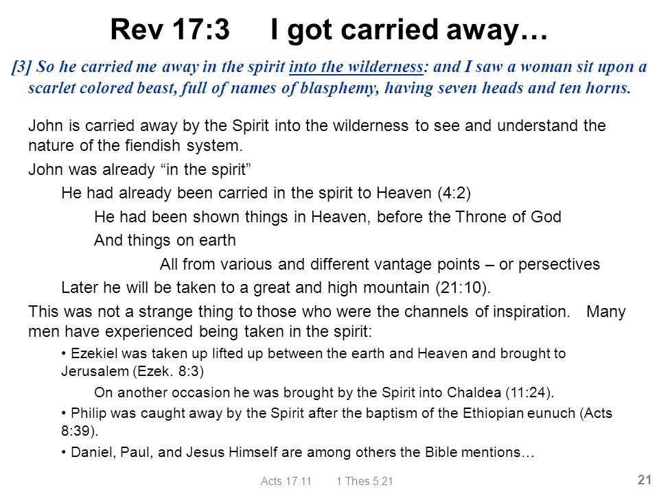 Acts 17:11 1 Thes 5:21 21 Rev 17:3 I got carried away… John is carried away by the Spirit into the wilderness to see and understand the nature of the