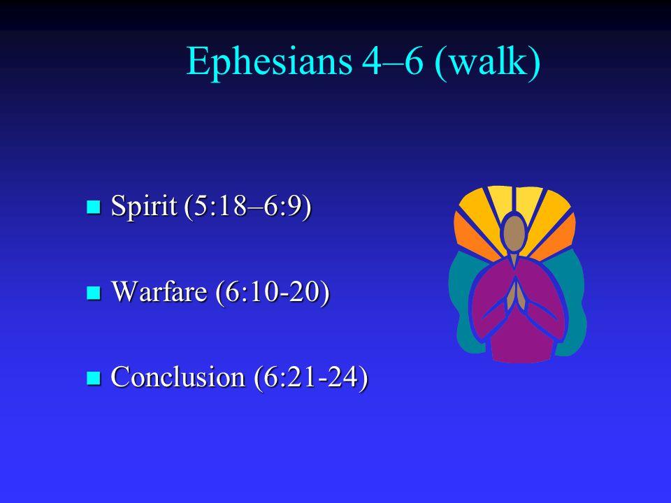 Ephesians 4–6 (walk) Spirit (5:18–6:9) Spirit (5:18–6:9) Warfare (6:10-20) Warfare (6:10-20) Conclusion (6:21-24) Conclusion (6:21-24)