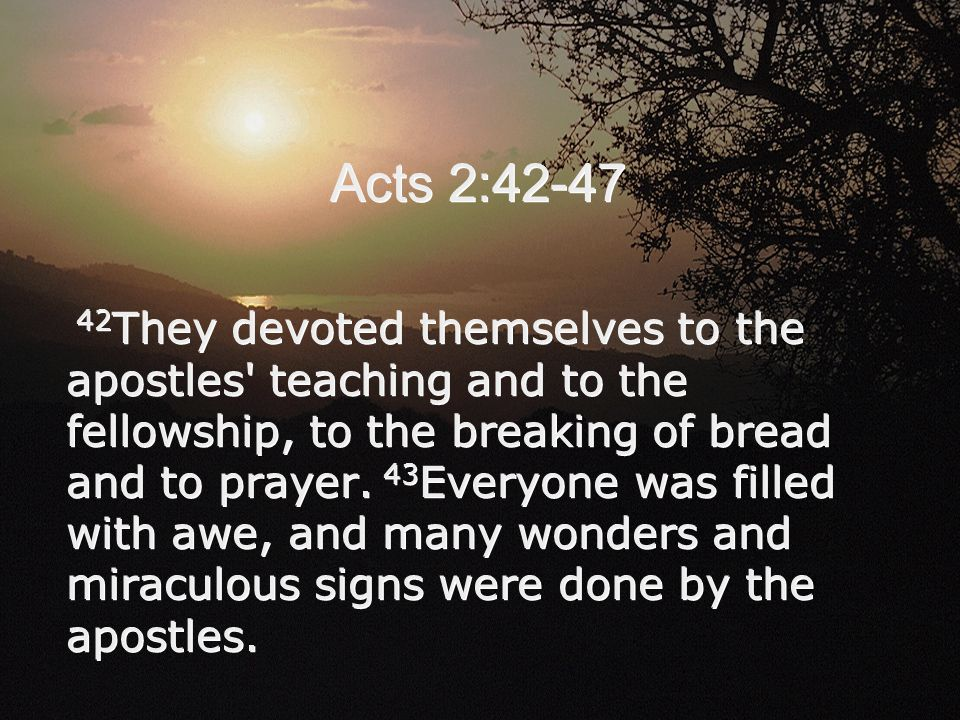Acts 2:42-47 42 They devoted themselves to the apostles' teaching and to the fellowship, to the breaking of bread and to prayer. 43 Everyone was fille