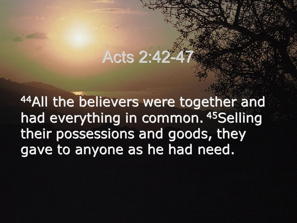 44 All the believers were together and had everything in common.