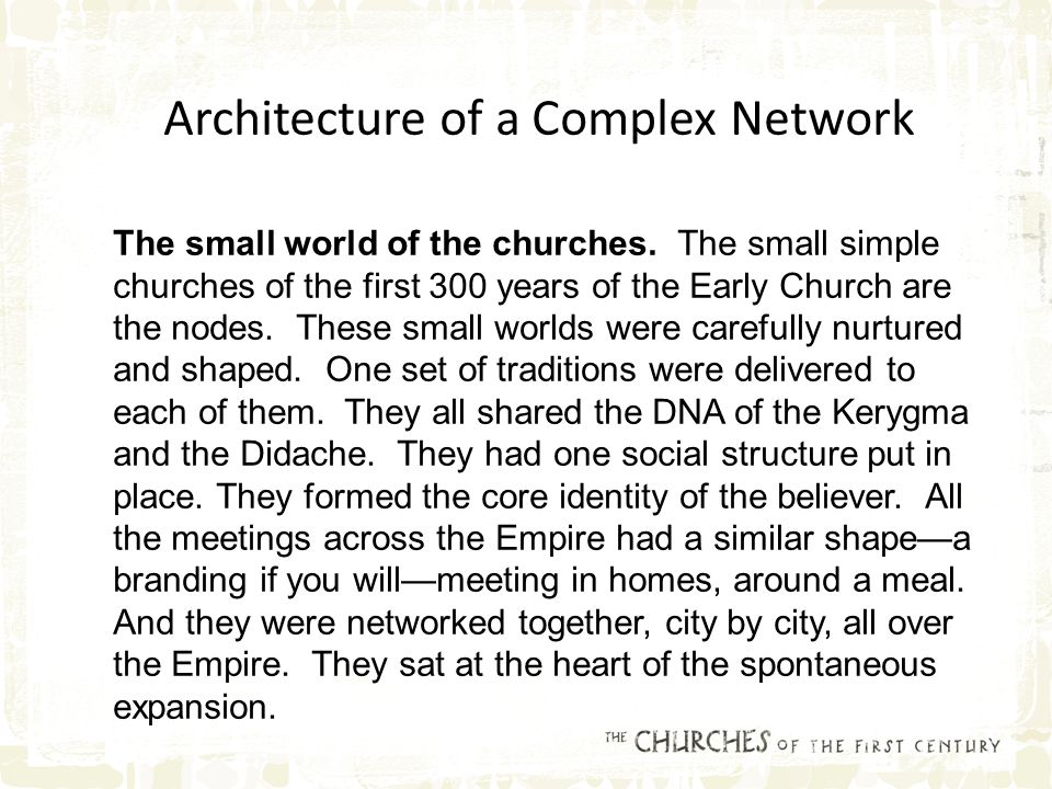 The small world of the churches.