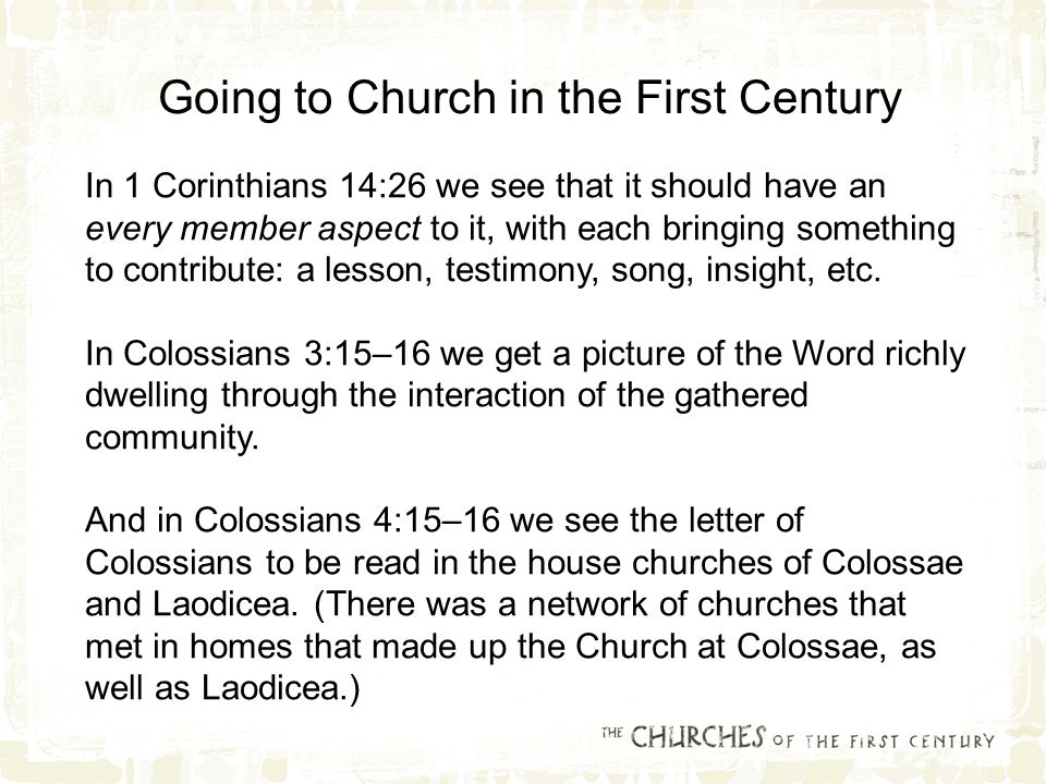 In 1 Corinthians 14:26 we see that it should have an every member aspect to it, with each bringing something to contribute: a lesson, testimony, song, insight, etc.