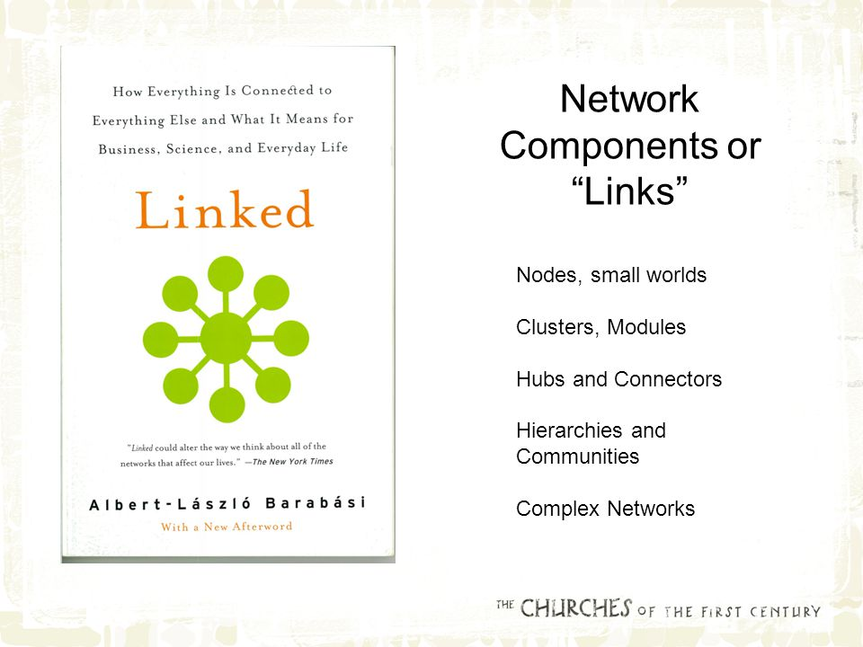 Network Components or Links Nodes, small worlds Clusters, Modules Hubs and Connectors Hierarchies and Communities Complex Networks