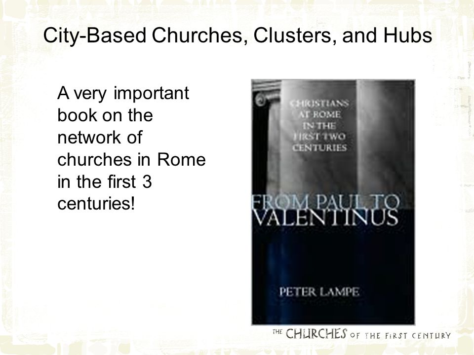 A very important book on the network of churches in Rome in the first 3 centuries.