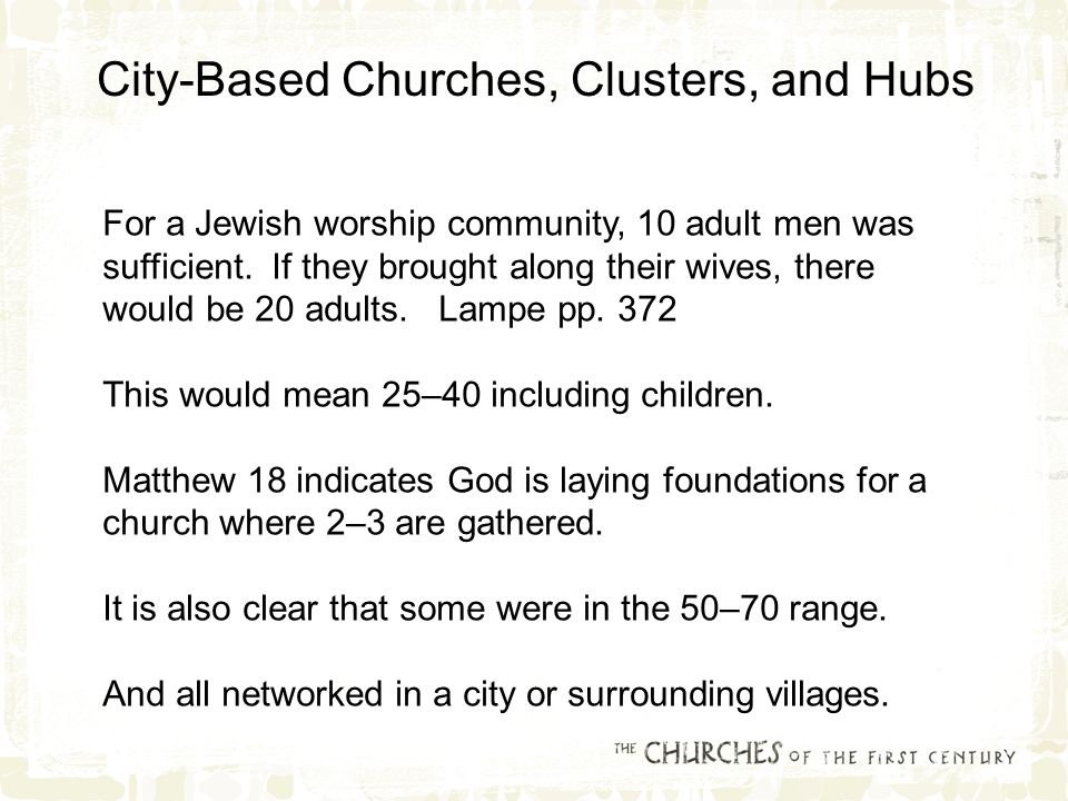 For a Jewish worship community, 10 adult men was sufficient.