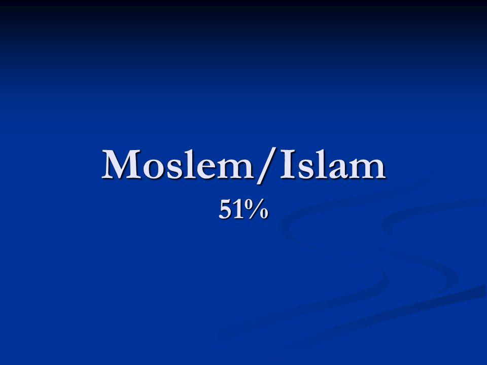 Moslem/Islam 51%