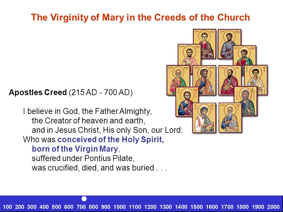 Apostles Creed (215 AD - 700 AD) I believe in God, the Father Almighty, the Creator of heaven and earth, and in Jesus Christ, His only Son, our Lord: Who was conceived of the Holy Spirit, born of the Virgin Mary, suffered under Pontius Pilate, was crucified, died, and was buried...