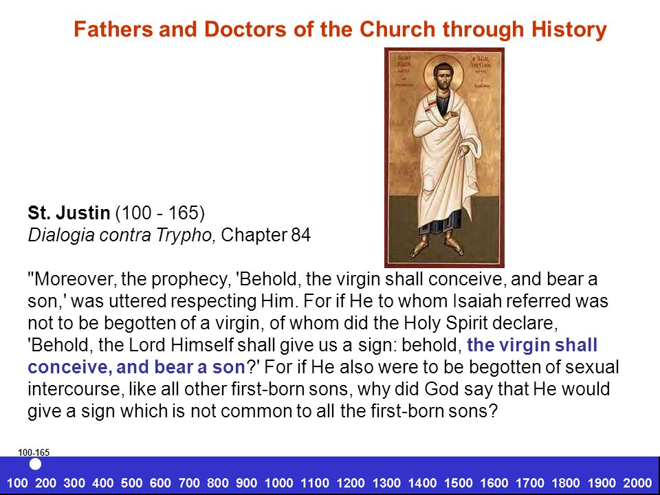 St. Justin (100 - 165) Dialogia contra Trypho, Chapter 84