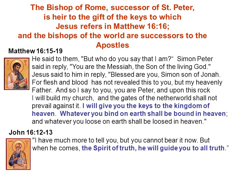 PETER THE ELEVEN PAUL BARNABAS LINUS, 67-79 ANACLETUS, 79-92 CLEMENT, 92-101 BENEDICT XVI, 2004 - BISHOPS OF THE WORLD FOR ALL TIME UNBROKEN SUCCESSION Acts 13:3-4 BISHOP OF ROME d., 67 AD Matthew 16Matthew 18 The Teaching Authority