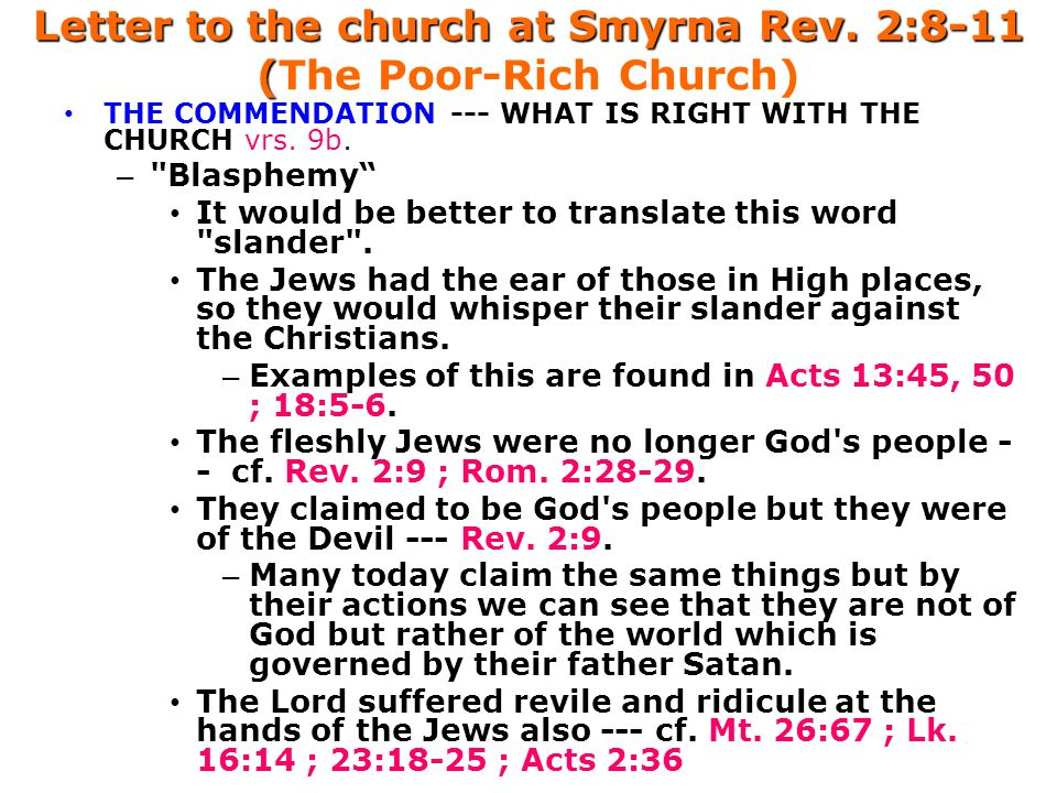 Letter to the church at Smyrna Rev.2:8-11 ( Letter to the church at Smyrna Rev.