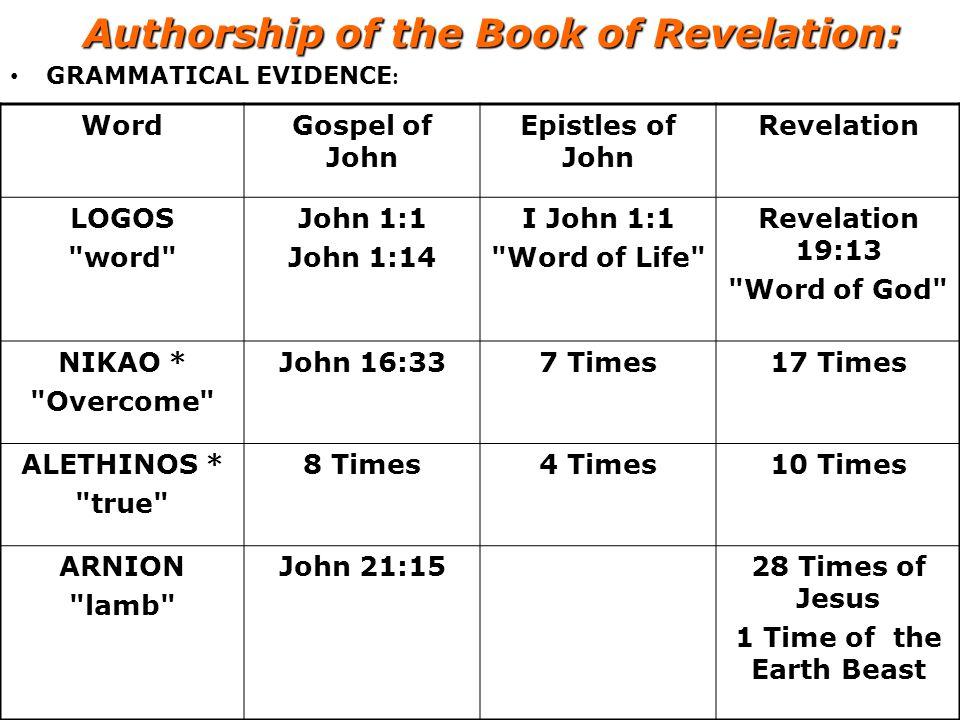 Authorship of the Book of Revelation: GRAMMATICAL EVIDENCE : Word Gospel of John Epistles of John Revelation LOGOS