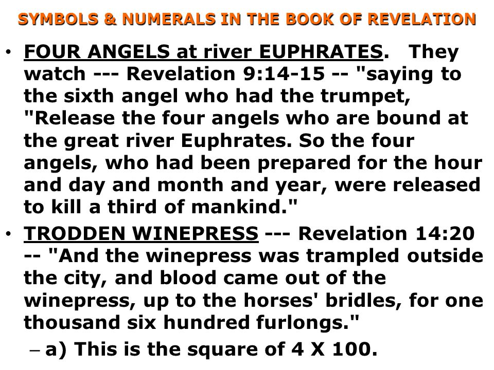 SYMBOLS & NUMERALS IN THE BOOK OF REVELATION FOUR ANGELS at river EUPHRATES.