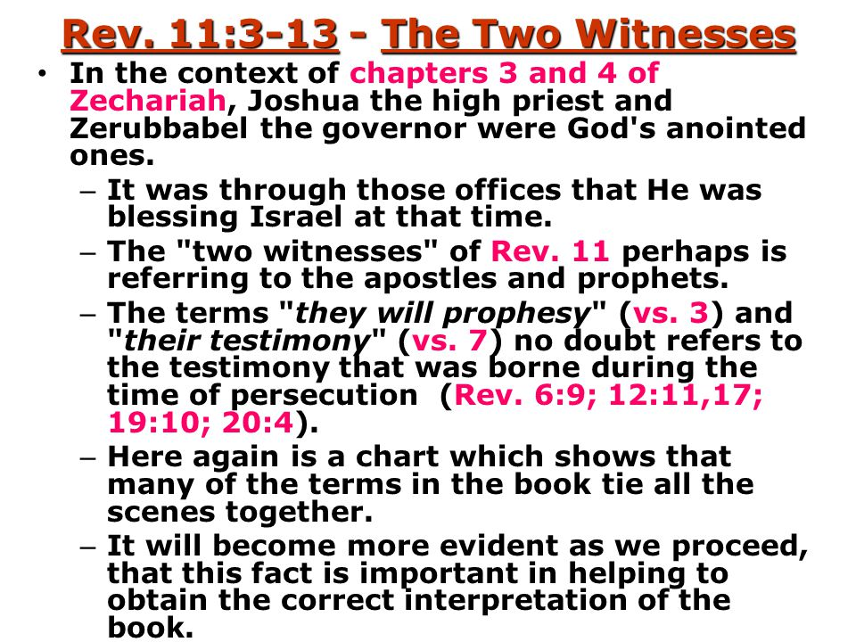 Rev. 11:3-13 - The Two Witnesses In the context of chapters 3 and 4 of Zechariah, Joshua the high priest and Zerubbabel the governor were God's anoint