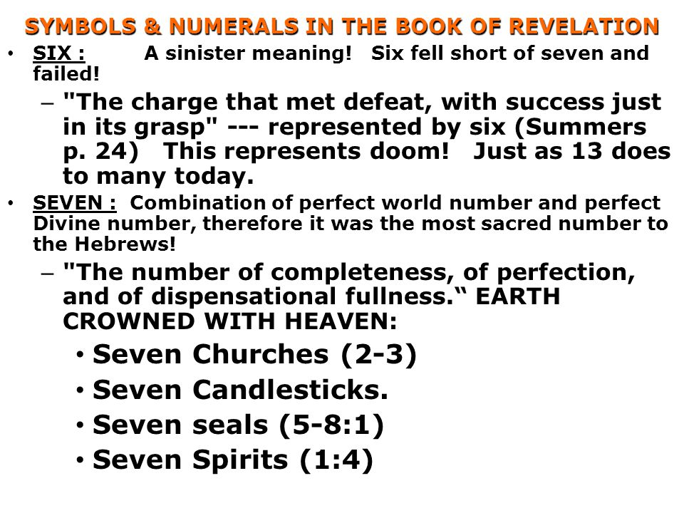 SYMBOLS & NUMERALS IN THE BOOK OF REVELATION SIX :A sinister meaning.