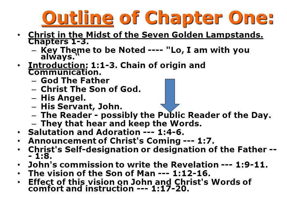 Outline of Chapter One: Christ in the Midst of the Seven Golden Lampstands. Chapters 1-3. – Key Theme to be Noted ----