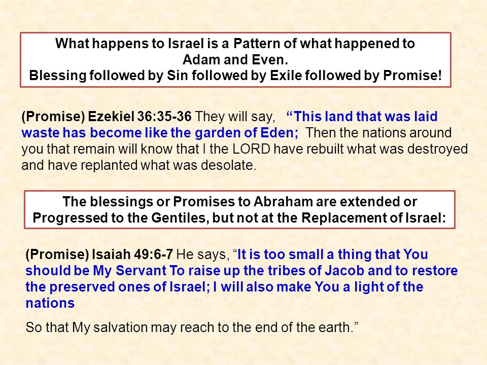 The blessings or Promises to Abraham are extended or Progressed to the Gentiles, but not at the Replacement of Israel: (Promise) Ezekiel 36:35-36 They will say, This land that was laid waste has become like the garden of Eden; Then the nations around you that remain will know that I the LORD have rebuilt what was destroyed and have replanted what was desolate.