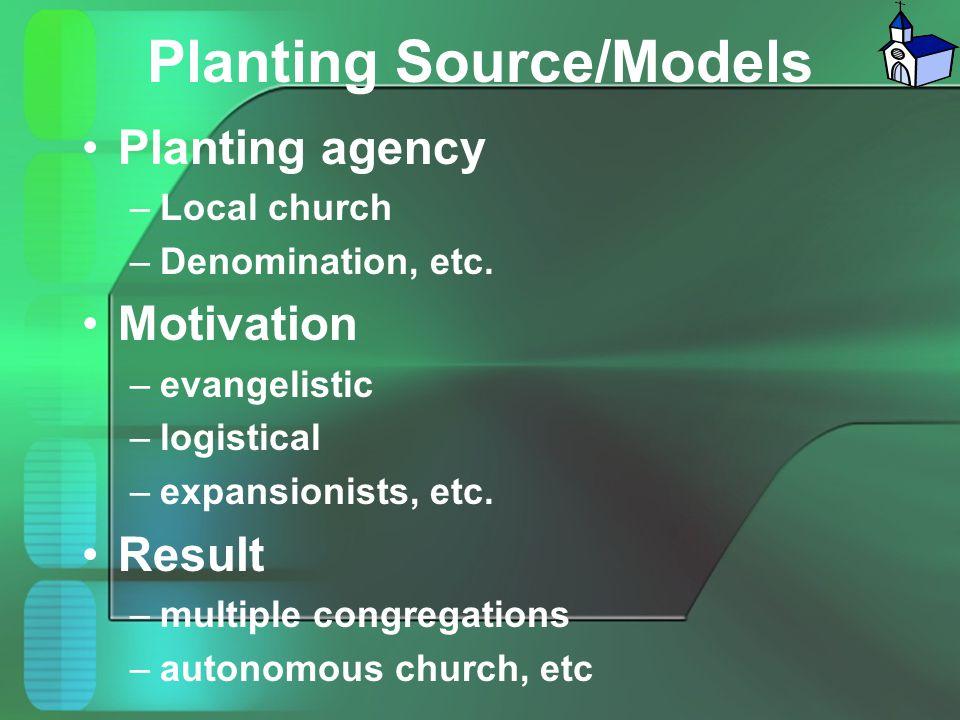 Planting Source/Models Planting agency –Local church –Denomination, etc. Motivation –evangelistic –logistical –expansionists, etc. Result –multiple co