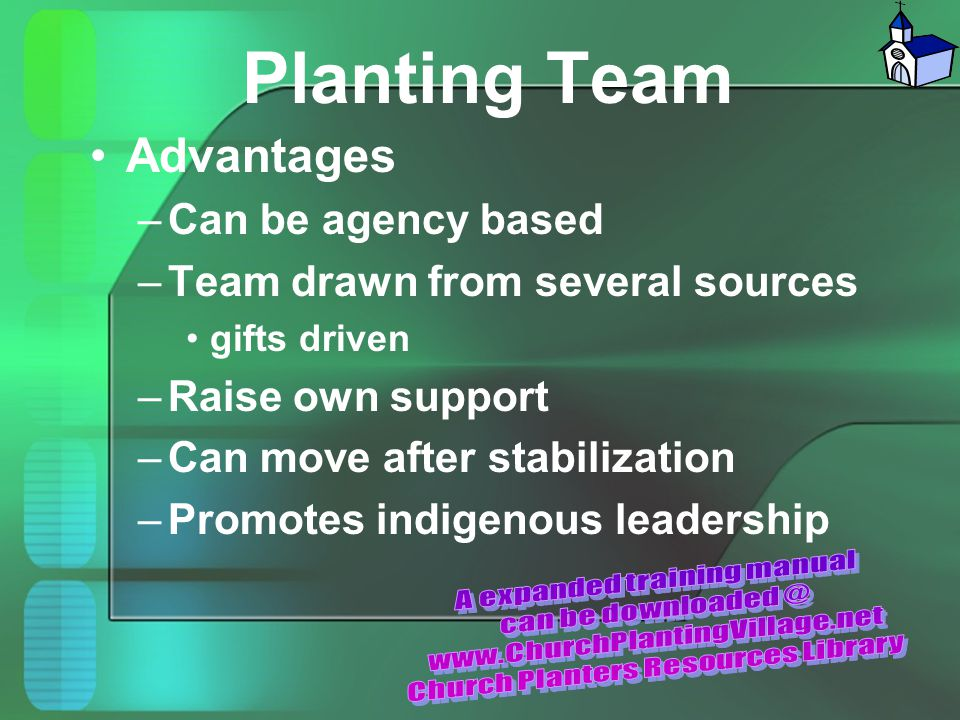 Planting Team Advantages –Can be agency based –Team drawn from several sources gifts driven –Raise own support –Can move after stabilization –Promotes