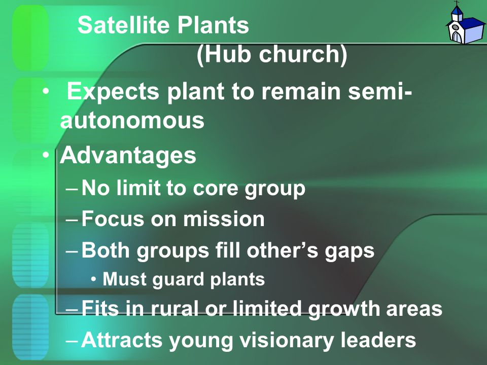 Satellite Plants (Hub church) Expects plant to remain semi- autonomous Advantages –No limit to core group –Focus on mission –Both groups fill other's