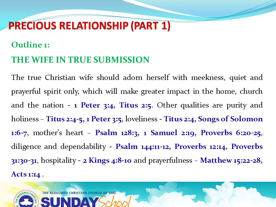 Outline 1: THE WIFE IN TRUE SUBMISSION The true Christian wife should adorn herself with meekness, quiet and prayerful spirit only, which will make gr